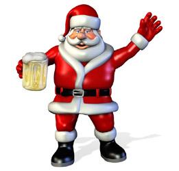 Дед Мороз с кружкой пива